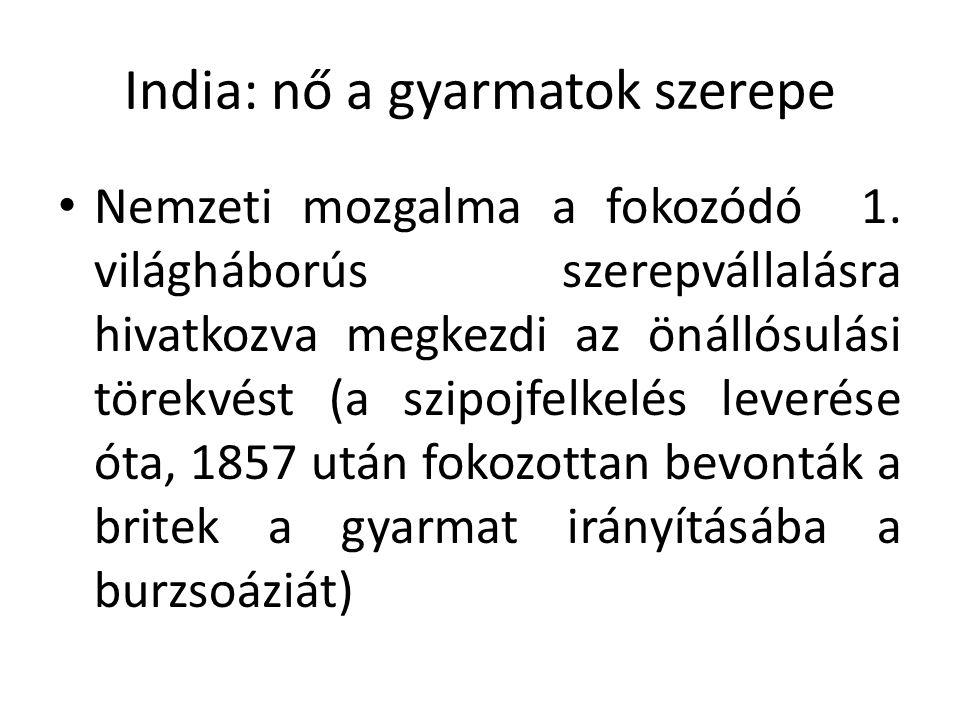 Gandhi: az erőszakmentesség elve (buddhizmus: ne szállj szembe a Gonosszal—erőszakkal) Fellépés a középkori hagyományok ellen, ő a szabadság embere (Nehru) Mérsékelni próbálja a vallási viszályt A britekkel egyeztetett függetlenségi törekvések, brit kompromisszumkészség hiányában polgári engedetlenségi mozgalmak szervezése: sómenet (a tengerből nyerni adómentes sót) Az angol textiláru bojkottja, hazai termékek vásárlása (korábban a britek tönkretették az indiai kézműipart, hogy helyet csináljanak a gyári termékeiknek: gyapotbehozatal Indiából)