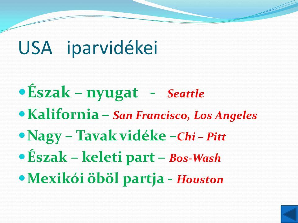 USA iparvidékei Észak – nyugat - Seattle Kalifornia – San Francisco, Los Angeles Nagy – Tavak vidéke – Chi – Pitt Észak – keleti part – Bos-Wash Mexikói öböl partja - Houston