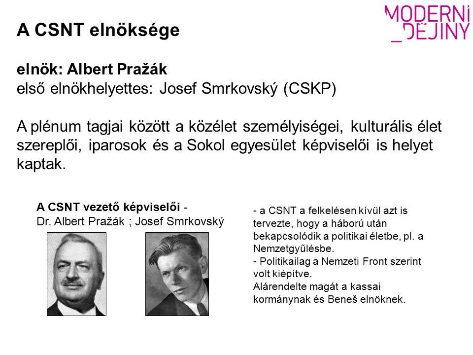A CSNT elnöksége elnök: Albert Pražák első elnökhelyettes: Josef Smrkovský (CSKP) A plénum tagjai között a közélet személyiségei, kulturális élet szereplői, iparosok és a Sokol egyesület képviselői is helyet kaptak.