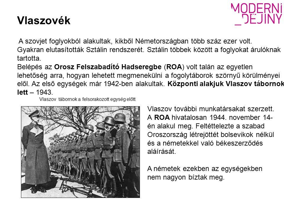 Vlaszov tábornok a felsorakozott egység előtt A szovjet foglyokból alakultak, kikből Németországban több száz ezer volt.