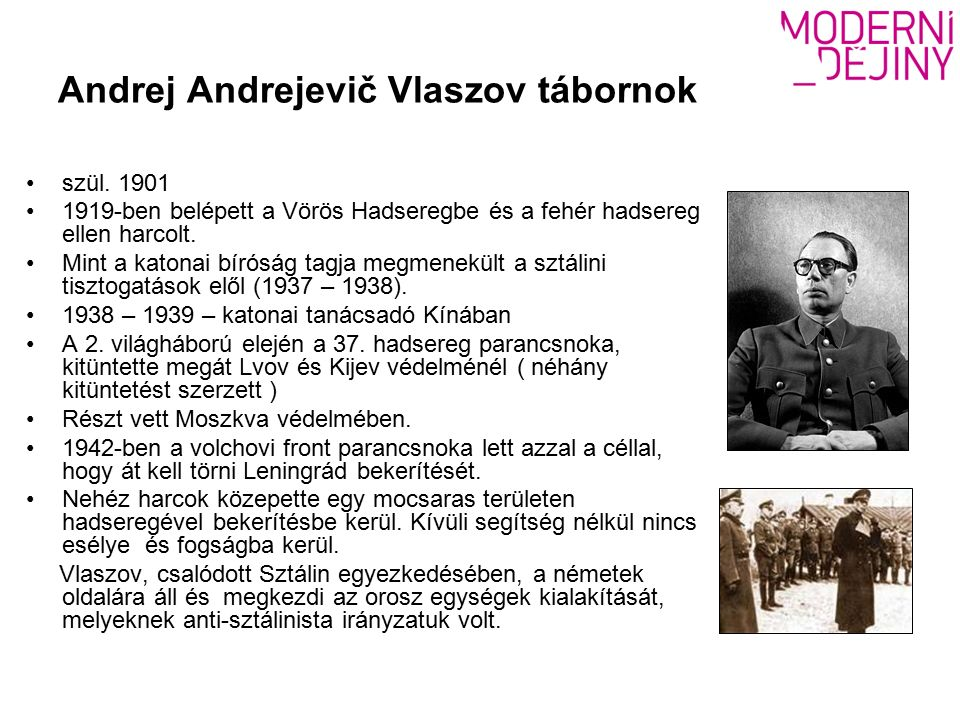 Andrej Andrejevič Vlaszov tábornok szül.