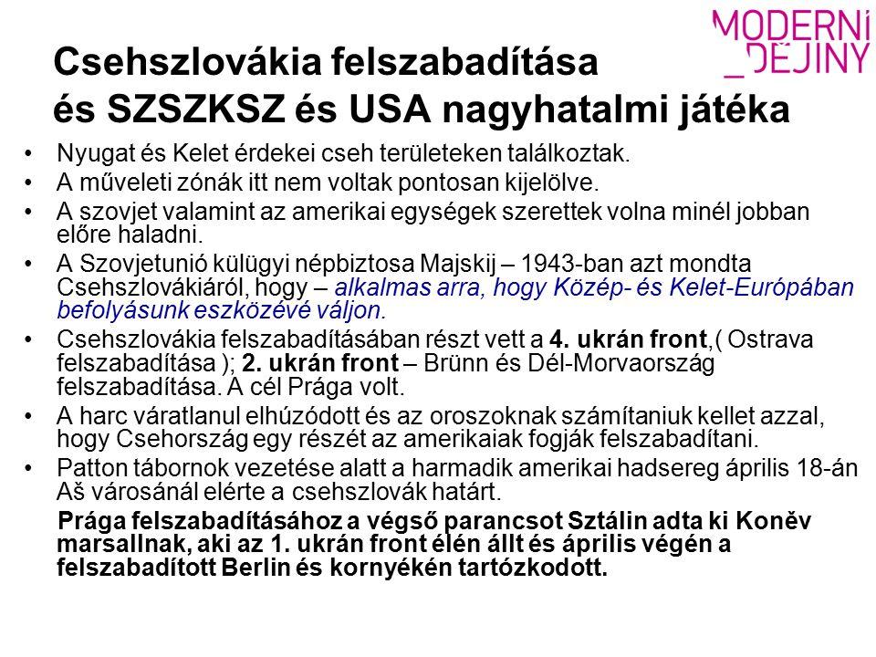 Csehszlovákia felszabadítása és SZSZKSZ és USA nagyhatalmi játéka Nyugat és Kelet érdekei cseh területeken találkoztak.