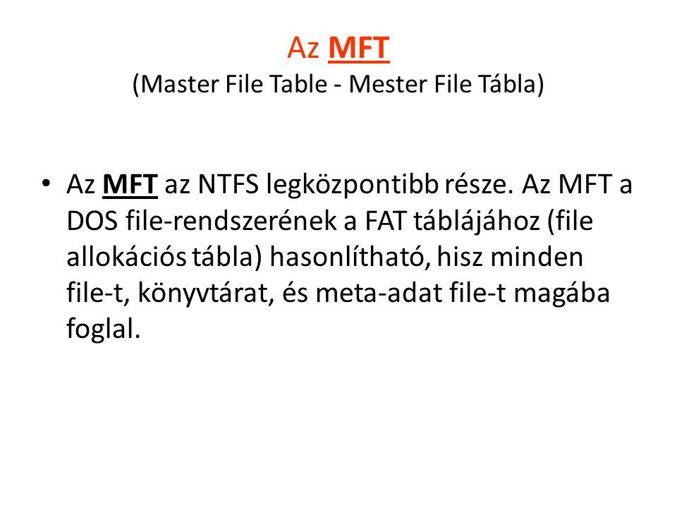 Az MFT (Master File Table - Mester File Tábla) Az MFT az NTFS legközpontibb része.
