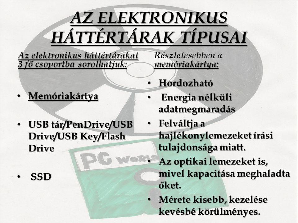 AZ ELEKTRONIKUS HÁTTÉRTÁRAK TÍPUSAI Az elektronikus háttértárakat 3 fő csoportba sorolhatjuk: Memóriakártya Memóriakártya USB tár/PenDrive/USB Drive/USB Key/Flash Drive USB tár/PenDrive/USB Drive/USB Key/Flash Drive SSD SSD memóriakártya: Részletesebben a memóriakártya: Hordozható Hordozható Energia nélküli adatmegmaradás Energia nélküli adatmegmaradás Felváltja a hajlékonylemezeket írási tulajdonsága miatt.