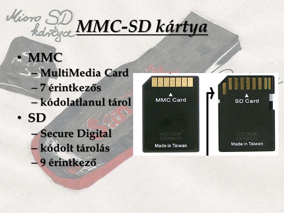 MMC-SD kártya MMC MMC – MultiMedia Card – 7 érintkezős – kódolatlanul tárol SD SD – Secure Digital – kódolt tárolás – 9 érintkező