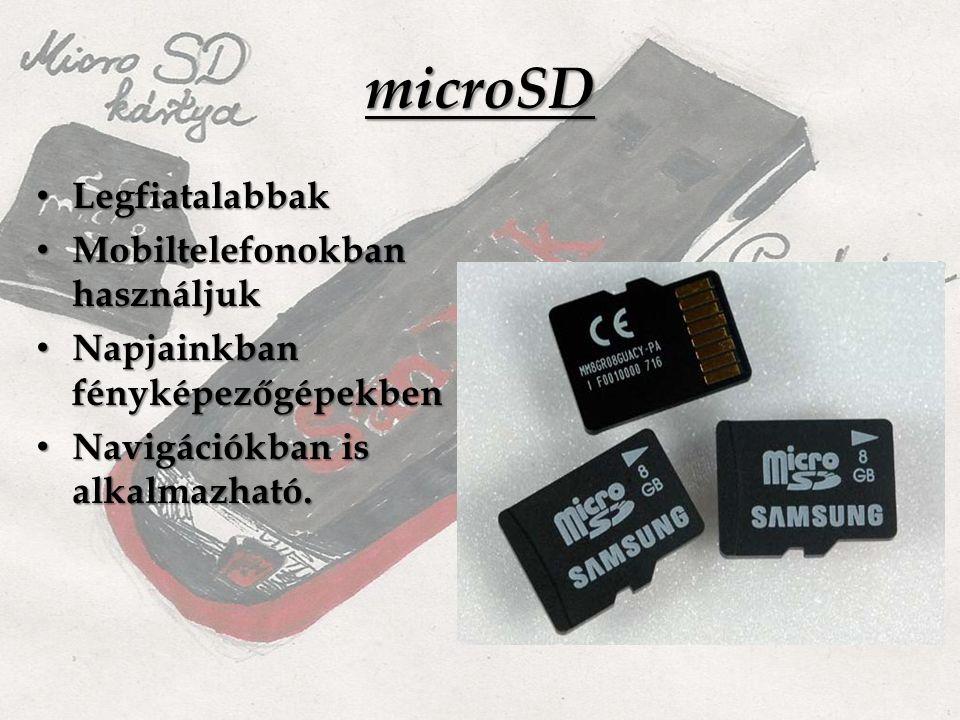 microSD Legfiatalabbak Legfiatalabbak Mobiltelefonokban használjuk Mobiltelefonokban használjuk Napjainkban fényképezőgépekben Napjainkban fényképezőgépekben Navigációkban is alkalmazható.