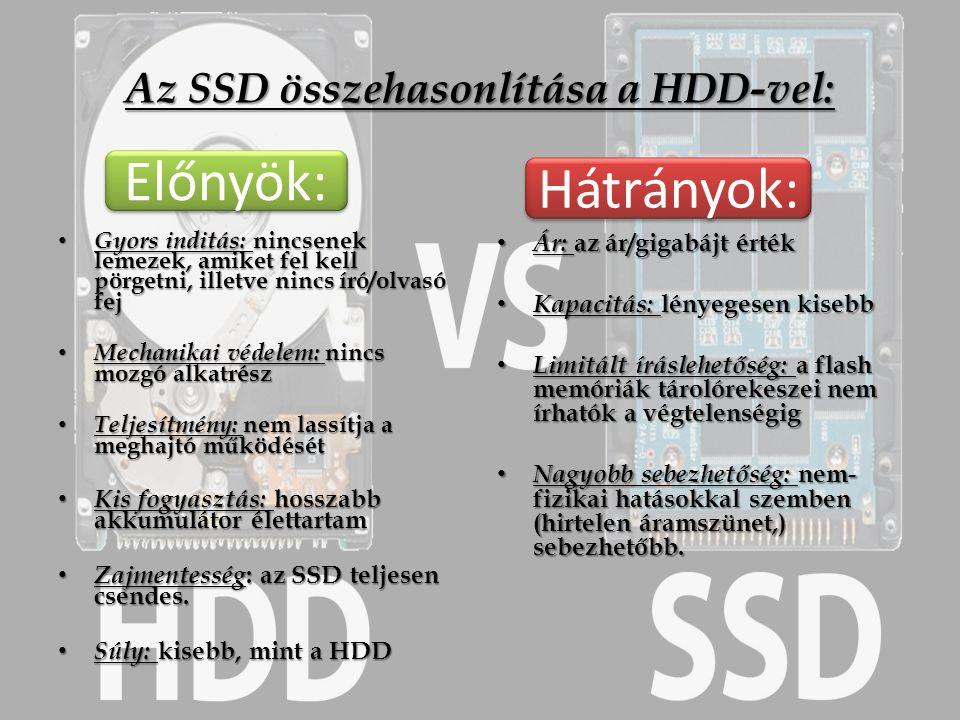 Az SSD összehasonlítása a HDD-vel: Gyors inditás: nincsenek lemezek, amiket fel kell pörgetni, illetve nincs író/olvasó fej Gyors inditás: nincsenek lemezek, amiket fel kell pörgetni, illetve nincs író/olvasó fej Mechanikai védelem: nincs mozgó alkatrész Mechanikai védelem: nincs mozgó alkatrész Teljesítmény: nem lassítja a meghajtó működését Teljesítmény: nem lassítja a meghajtó működését Kis fogyasztás: hosszabb akkumulátor élettartam Kis fogyasztás: hosszabb akkumulátor élettartam Zajmentesség : az SSD teljesen csendes.
