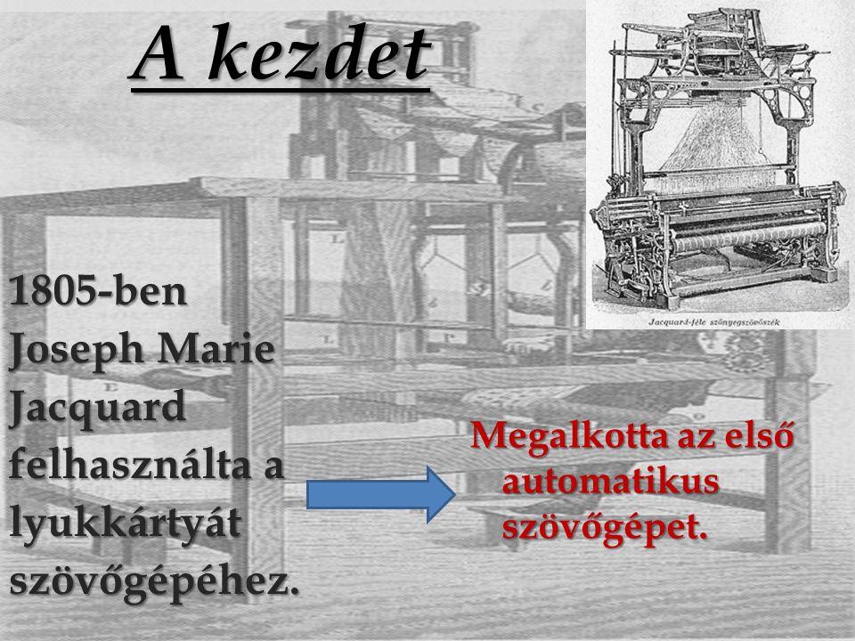 A kezdet 1805-ben Joseph Marie Jacquard felhasználta a lyukkártyát szövőgépéhez.