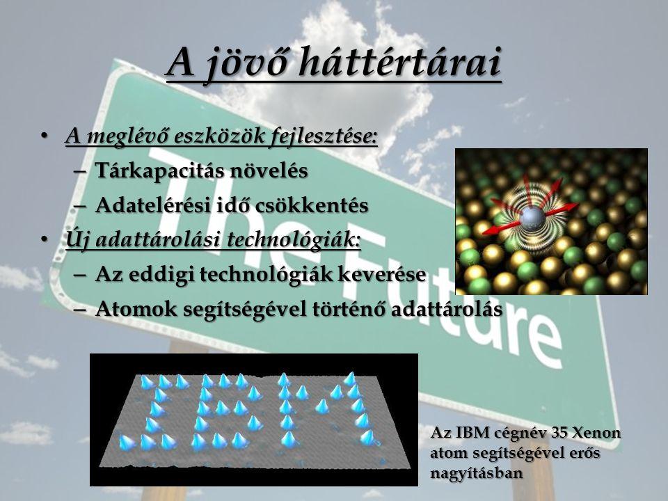 A jövő háttértárai A meglévő eszközök fejlesztése: A meglévő eszközök fejlesztése: – Tárkapacitás növelés – Adatelérési idő csökkentés Új adattárolási technológiák: Új adattárolási technológiák: – Az eddigi technológiák keverése – Atomok segítségével történő adattárolás Az IBM cégnév 35 Xenon atom segítségével erős nagyításban