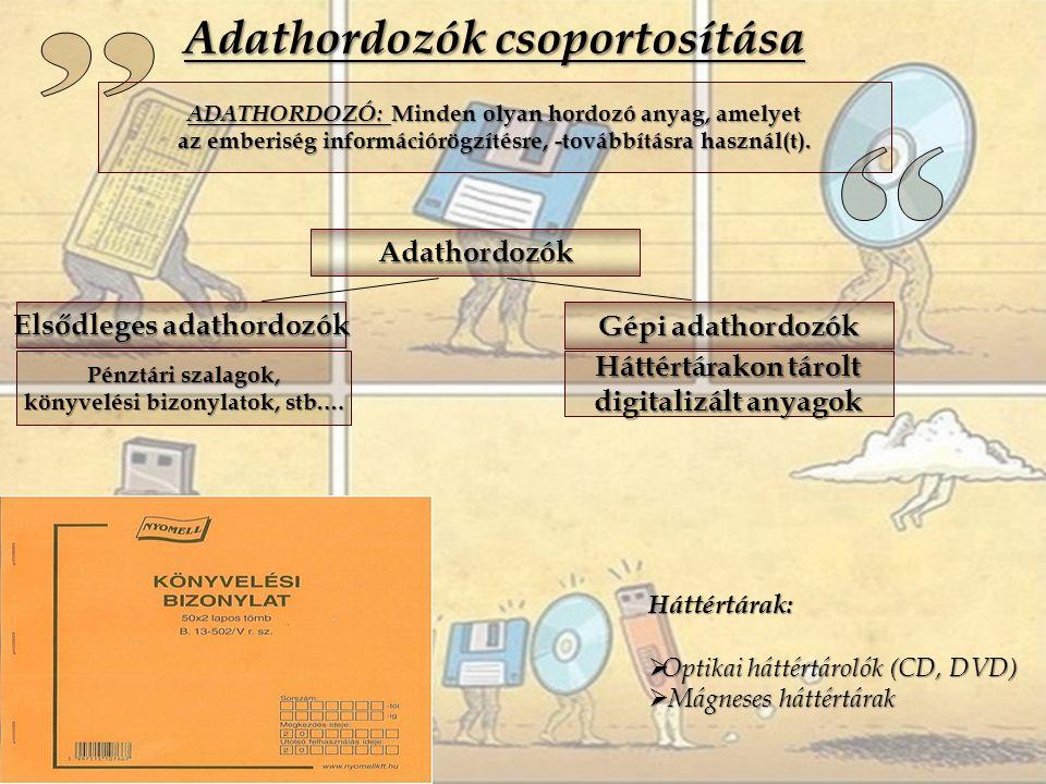 Adathordozók csoportosítása ADATHORDOZÓ: Minden olyan hordozó anyag, amelyet az emberiség információrögzítésre, -továbbításra használ(t).