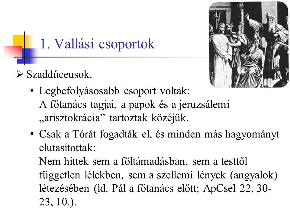 1. Vallási csoportok  Szaddúceusok.