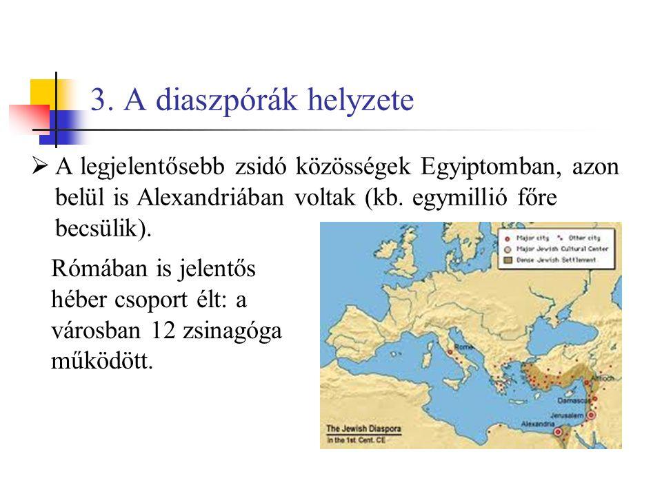 3. A diaszpórák helyzete  A legjelentősebb zsidó közösségek Egyiptomban, azon belül is Alexandriában voltak (kb. egymillió főre becsülik). Rómában is