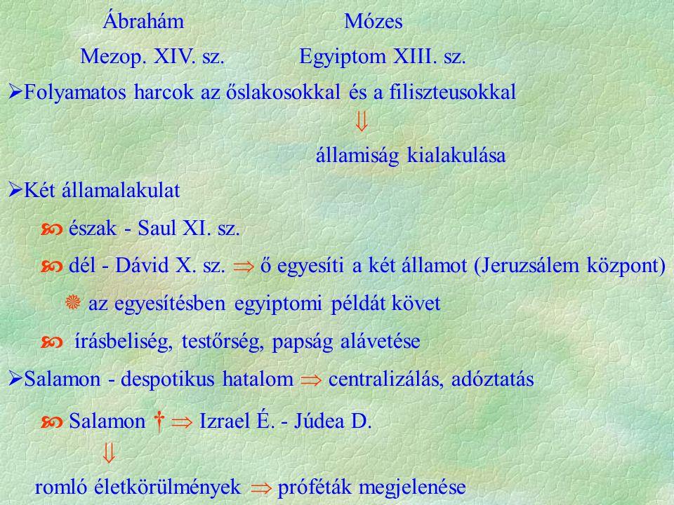 Ábrahám Mózes Mezop. XIV. sz. Egyiptom XIII. sz.  Folyamatos harcok az őslakosokkal és a filiszteusokkal  államiság kialakulása  Két államalakulat
