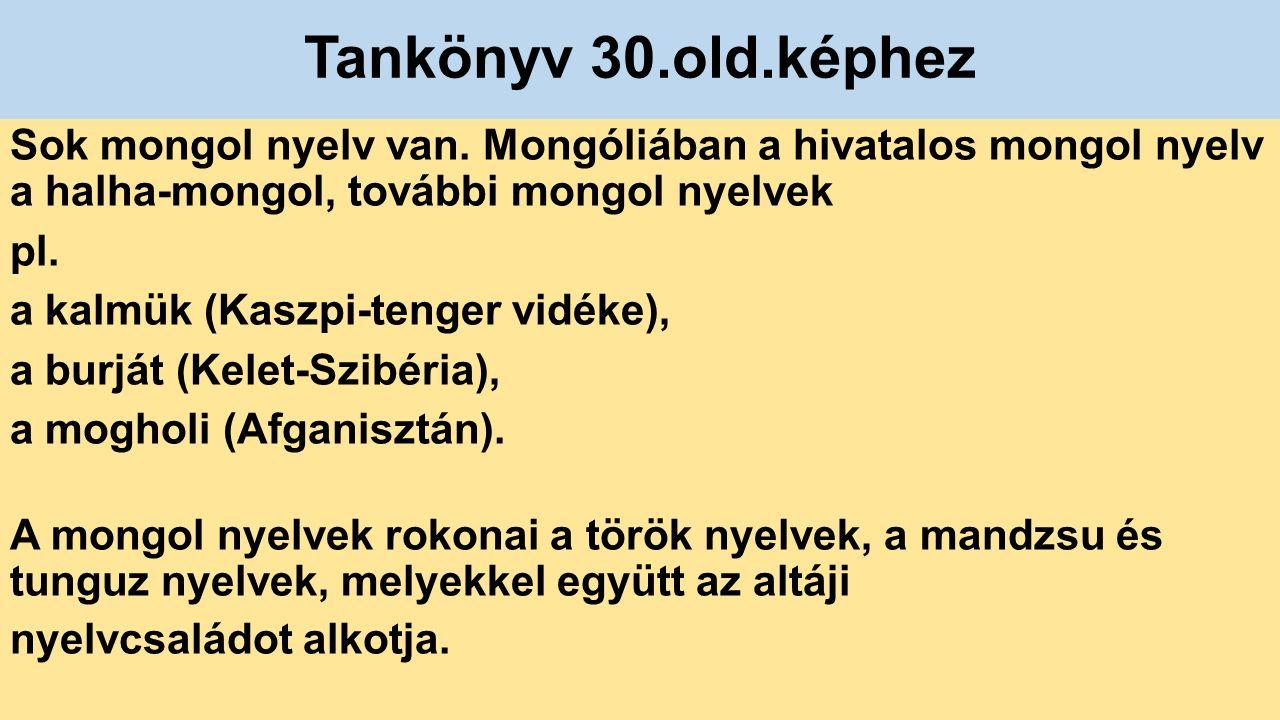 Tankönyv 30.old.képhez Sok mongol nyelv van.