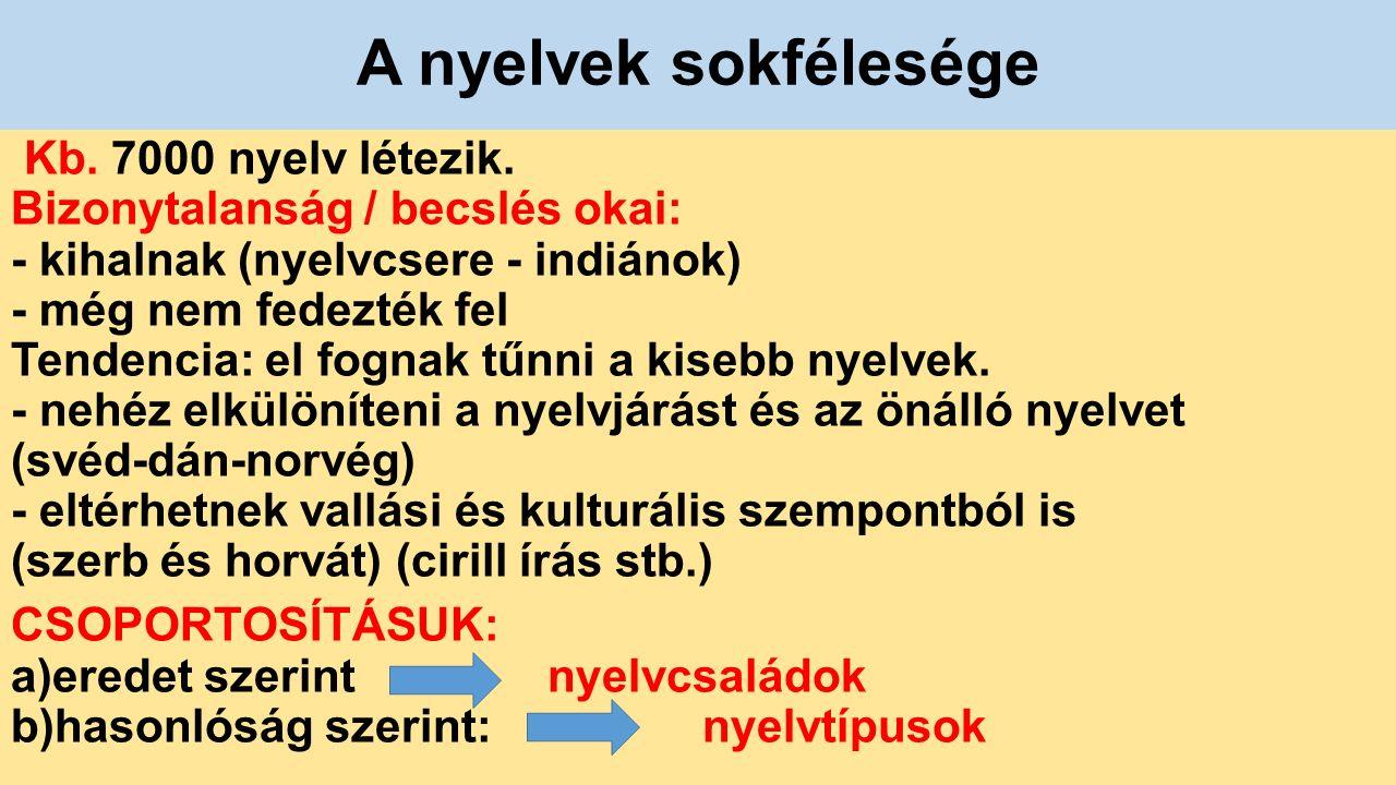 A nyelvcsaládok kb.300 nyelvcsalád van 3 milliárd indoeurópai nyelvet beszél.