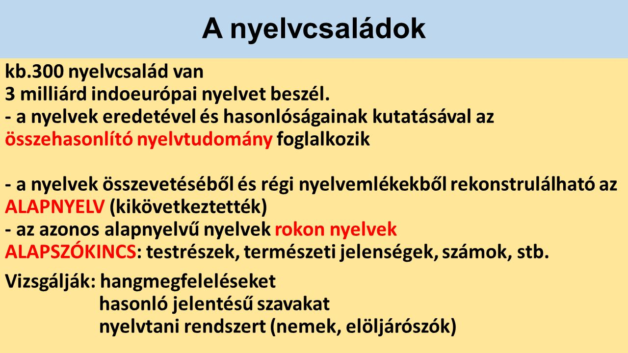A nyelvtípusok 1.Izoláló: pl.kínai, vietnámi -állandó szóalak egy morfémából áll -szigorú szórend 2.Agglutináló (ragasztó): magyar, török, japán, szuahéli -ragokat használnak -toldalékmorféma az igéken is 3.Inkorporáló: (bekebelező) magas fokon ragozó nyelvek (elő-és utóképzők) ausztrál bennszülött, indián stb.