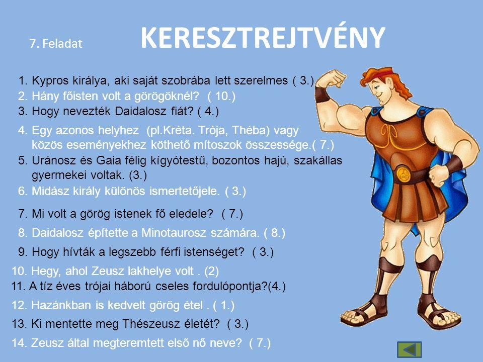 7. Feladat KERESZTREJTVÉNY 1. Kypros királya, aki saját szobrába lett szerelmes ( 3.) 2. Hány főisten volt a görögöknél? ( 10.) 3. Hogy nevezték Daida