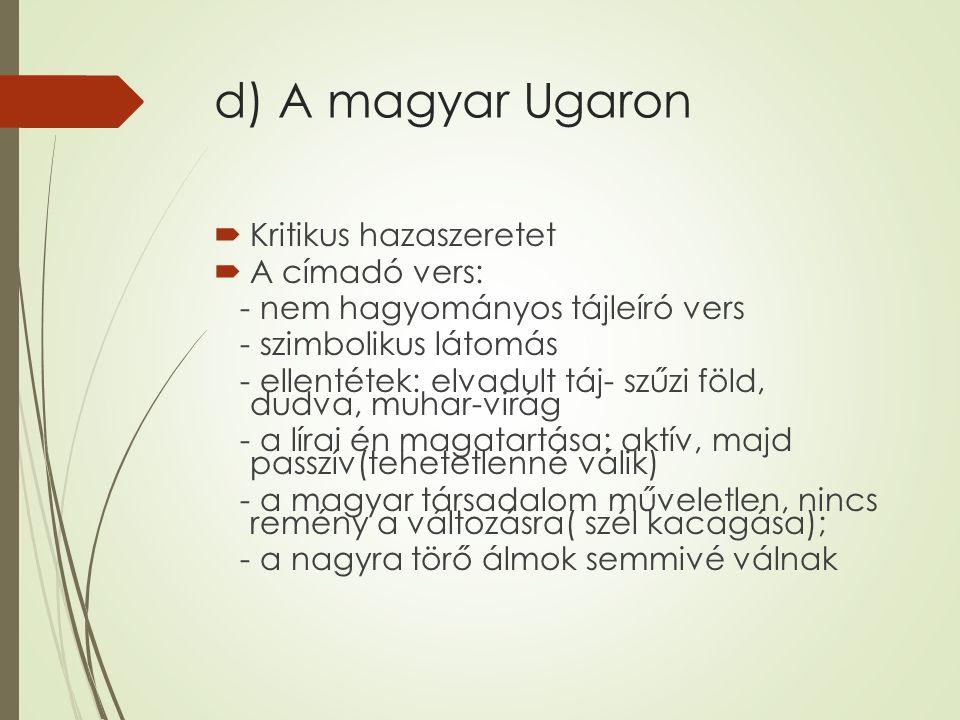 d) A magyar Ugaron  Kritikus hazaszeretet  A címadó vers: - nem hagyományos tájleíró vers - szimbolikus látomás - ellentétek: elvadult táj- szűzi föld, dudva, muhar-virág - a lírai én magatartása: aktív, majd passzív(tehetetlenné válik) - a magyar társadalom műveletlen, nincs remény a változásra( szél kacagása); - a nagyra törő álmok semmivé válnak
