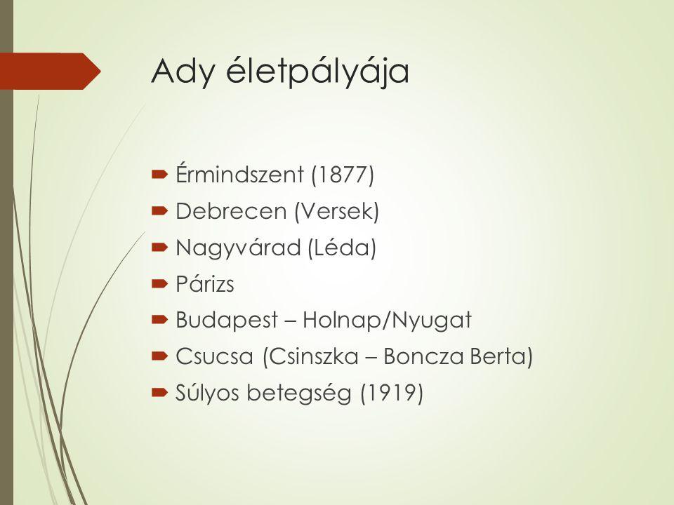 Ady életpályája  Érmindszent (1877)  Debrecen (Versek)  Nagyvárad (Léda)  Párizs  Budapest – Holnap/Nyugat  Csucsa (Csinszka – Boncza Berta)  Súlyos betegség (1919)