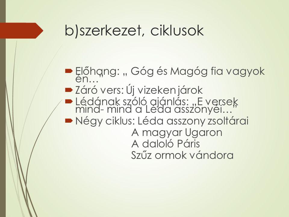 """b)szerkezet, ciklusok  Előhang: """" Góg és Magóg fia vagyok én…  Záró vers: Új vizeken járok  Lédának szóló ajánlás: """"E versek mind- mind a Léda asszonyéi…  Négy ciklus: Léda asszony zsoltárai A magyar Ugaron A daloló Páris Szűz ormok vándora"""