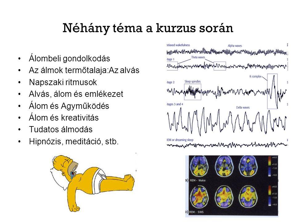 Néhány téma a kurzus során Álombeli gondolkodás Az álmok termőtalaja:Az alvás Napszaki ritmusok Alvás, álom és emlékezet Álom és Agyműködés Álom és kreativitás Tudatos álmodás Hipnózis, meditáció, stb.