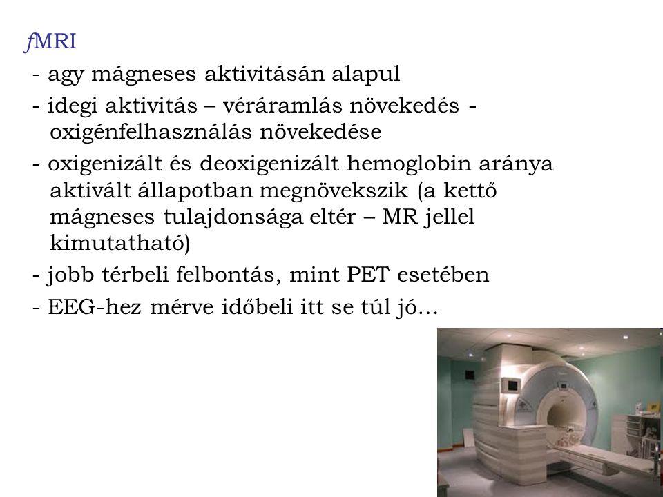 f MRI - agy mágneses aktivitásán alapul - idegi aktivitás – véráramlás növekedés - oxigénfelhasználás növekedése - oxigenizált és deoxigenizált hemoglobin aránya aktivált állapotban megnövekszik (a kettő mágneses tulajdonsága eltér – MR jellel kimutatható) - jobb térbeli felbontás, mint PET esetében - EEG-hez mérve időbeli itt se túl jó…