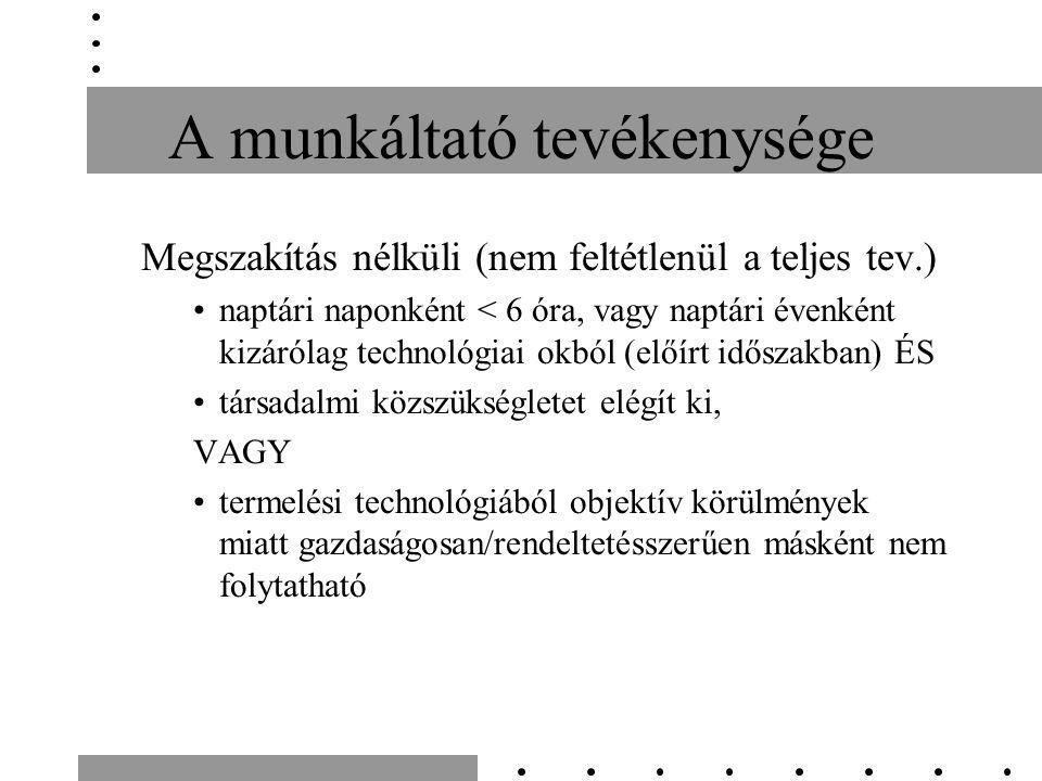 A munkáltató tevékenysége Megszakítás nélküli (nem feltétlenül a teljes tev.) naptári naponként < 6 óra, vagy naptári évenként kizárólag technológiai okból (előírt időszakban) ÉS társadalmi közszükségletet elégít ki, VAGY termelési technológiából objektív körülmények miatt gazdaságosan/rendeltetésszerűen másként nem folytatható