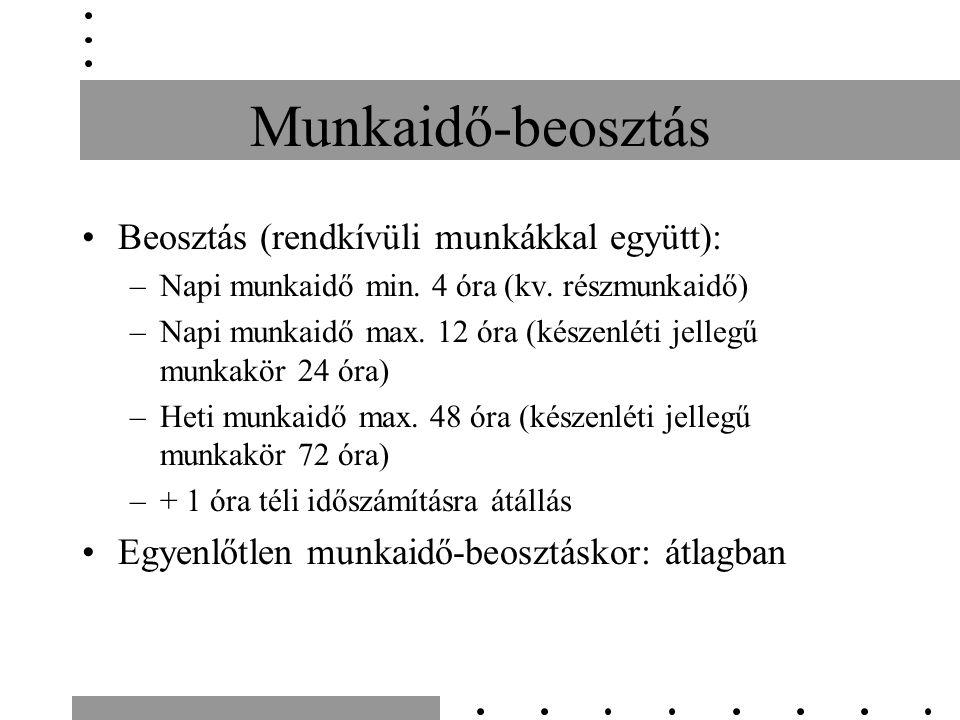 Munkaidő-beosztás Beosztás (rendkívüli munkákkal együtt): –Napi munkaidő min. 4 óra (kv. részmunkaidő) –Napi munkaidő max. 12 óra (készenléti jellegű