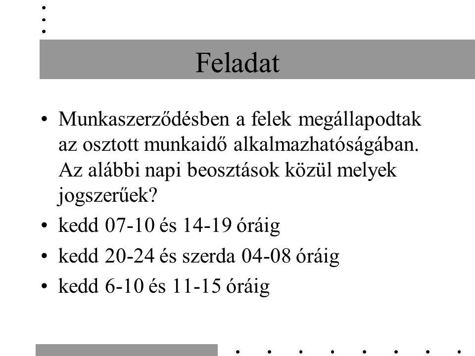 Feladat Munkaszerződésben a felek megállapodtak az osztott munkaidő alkalmazhatóságában. Az alábbi napi beosztások közül melyek jogszerűek? kedd 07-10