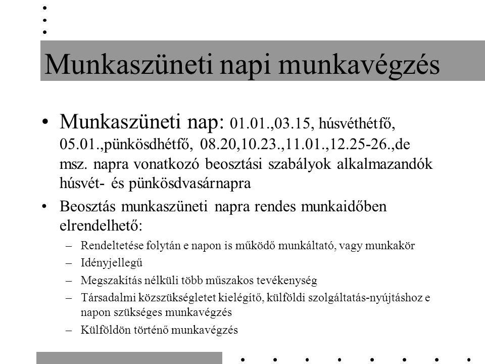 Munkaszüneti napi munkavégzés Munkaszüneti nap: 01.01.,03.15, húsvéthétfő, 05.01.,pünkösdhétfő, 08.20,10.23.,11.01.,12.25-26.,de msz.