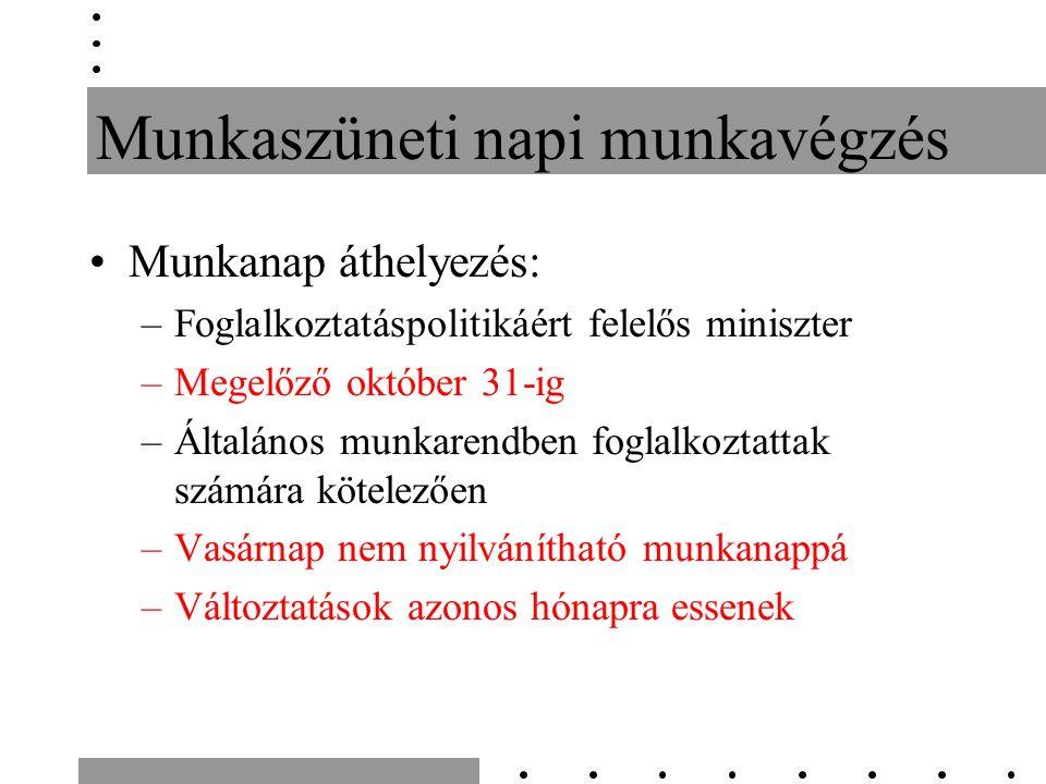 Munkaszüneti napi munkavégzés Munkanap áthelyezés: –Foglalkoztatáspolitikáért felelős miniszter –Megelőző október 31-ig –Általános munkarendben foglalkoztattak számára kötelezően –Vasárnap nem nyilvánítható munkanappá –Változtatások azonos hónapra essenek