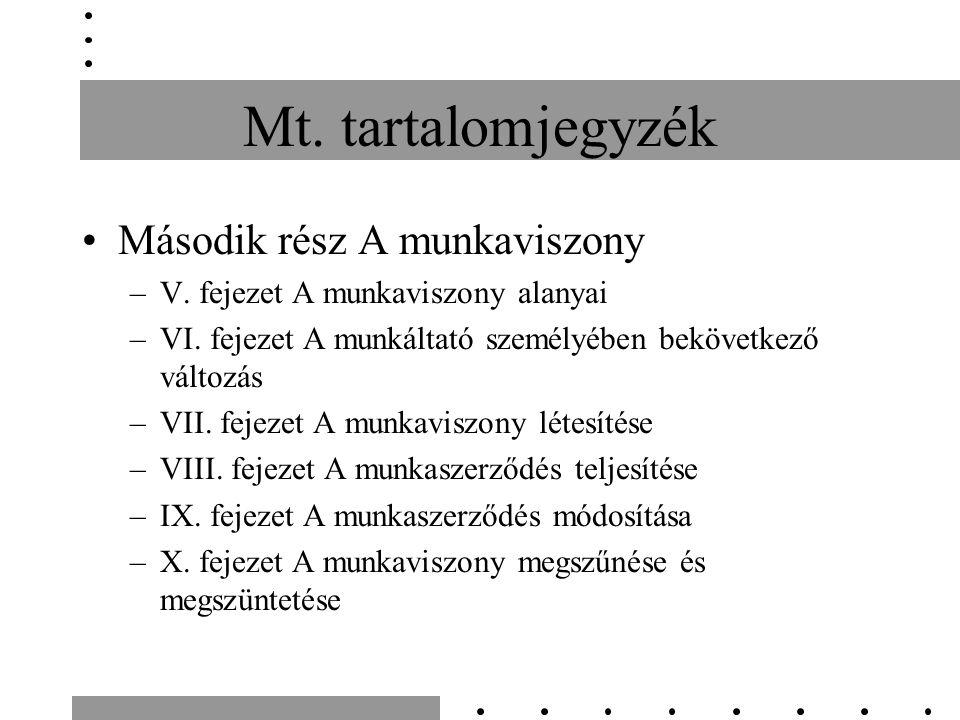 Mt. tartalomjegyzék Második rész A munkaviszony –V. fejezet A munkaviszony alanyai –VI. fejezet A munkáltató személyében bekövetkező változás –VII. fe