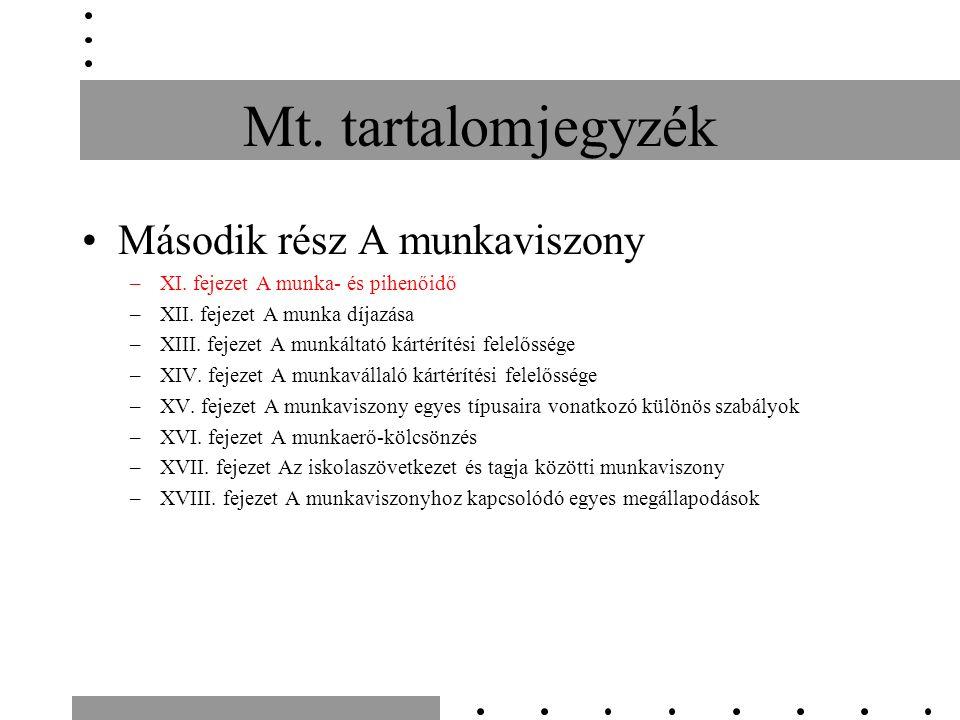 Mt. tartalomjegyzék Második rész A munkaviszony –XI. fejezet A munka- és pihenőidő –XII. fejezet A munka díjazása –XIII. fejezet A munkáltató kártérít
