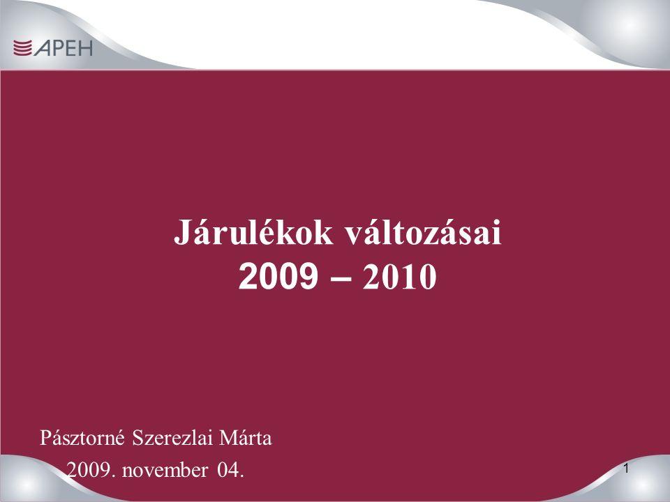 1 Járulékok változásai 2009 – 2010 Pásztorné Szerezlai Márta 2009. november 04.