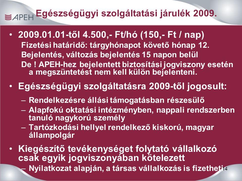14 Egészségügyi szolgáltatási járulék 2009. 2009.01.01-től 4.500,- Ft/hó (150,- Ft / nap) Fizetési határidő: tárgyhónapot követő hónap 12. Bejelentés,
