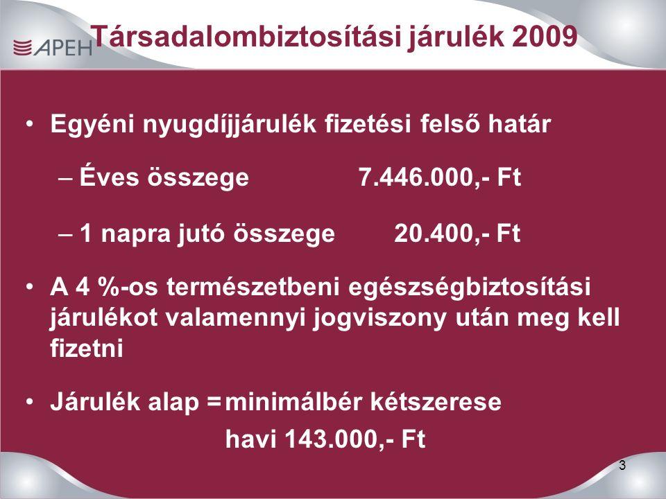 3 Társadalombiztosítási járulék 2009 Egyéni nyugdíjjárulék fizetési felső határ –Éves összege7.446.000,- Ft –1 napra jutó összege 20.400,- Ft A 4 %-os
