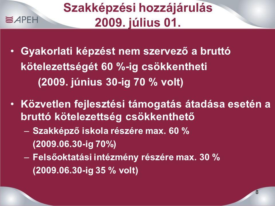 8 Szakképzési hozzájárulás 2009. július 01. Gyakorlati képzést nem szervező a bruttó kötelezettségét 60 %-ig csökkentheti (2009. június 30-ig 70 % vol