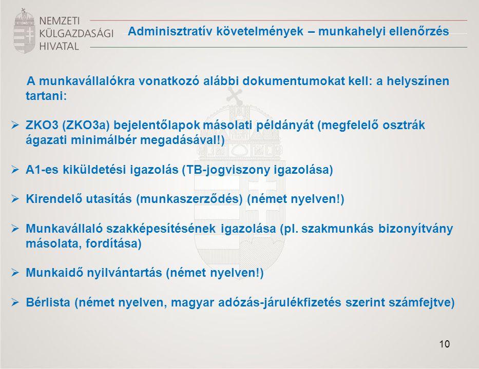 A munkavállalókra vonatkozó alábbi dokumentumokat kell: a helyszínen tartani:  ZKO3 (ZKO3a) bejelentőlapok másolati példányát (megfelelő osztrák ágazati minimálbér megadásával!)  A1-es kiküldetési igazolás (TB-jogviszony igazolása)  Kirendelő utasítás (munkaszerződés) (német nyelven!)  Munkavállaló szakképesítésének igazolása (pl.