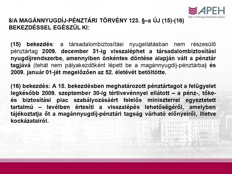 8/A MAGÁNNYUGDÍJ-PÉNZTÁRI TÖRVÉNY 123.
