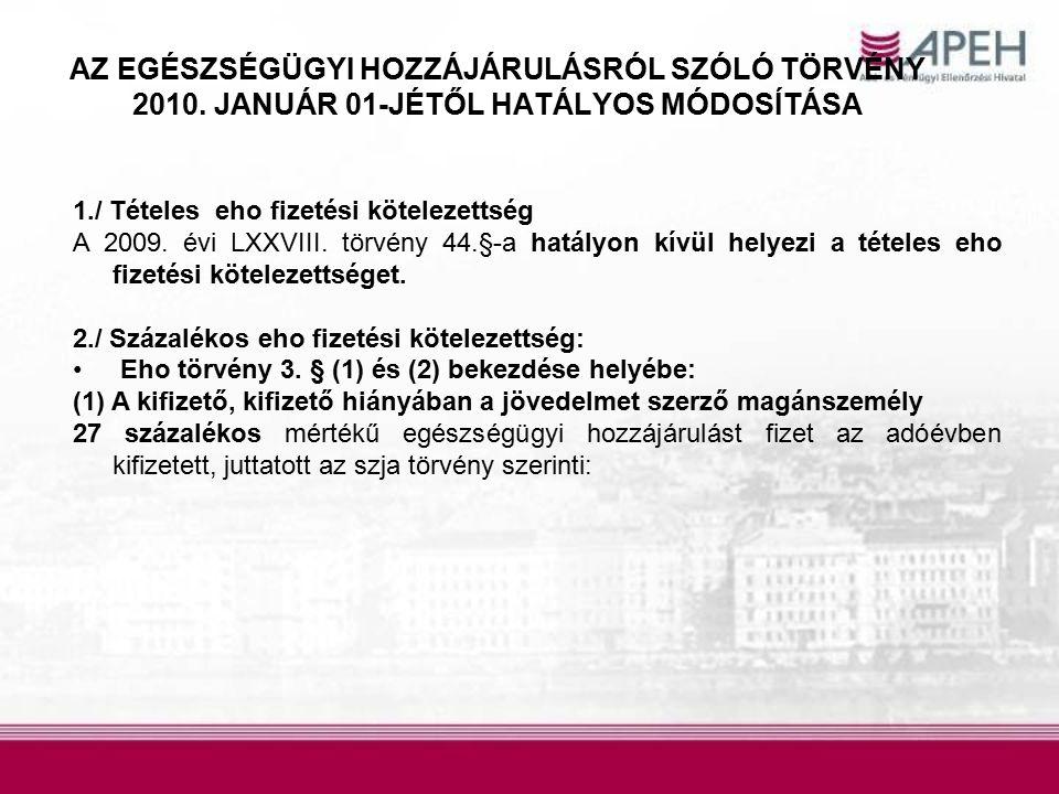 AZ EGÉSZSÉGÜGYI HOZZÁJÁRULÁSRÓL SZÓLÓ TÖRVÉNY 2010.