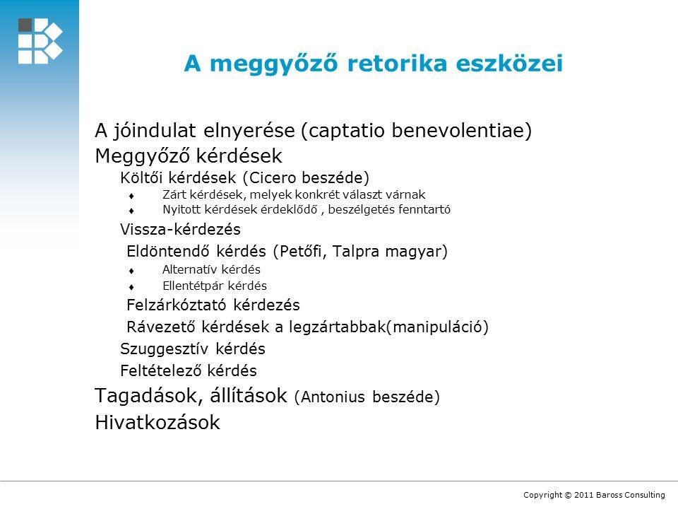 Copyright © 2011 Baross Consulting A meggyőző retorika eszközei A jóindulat elnyerése (captatio benevolentiae) Meggyőző kérdések Költői kérdések (Cicero beszéde)  Zárt kérdések, melyek konkrét választ várnak  Nyitott kérdések érdeklődő, beszélgetés fenntartó Vissza-kérdezés Eldöntendő kérdés (Petőfi, Talpra magyar)  Alternatív kérdés  Ellentétpár kérdés Felzárkóztató kérdezés Rávezető kérdések a legzártabbak(manipuláció) Szuggesztív kérdés Feltételező kérdés Tagadások, állítások (Antonius beszéde) Hivatkozások