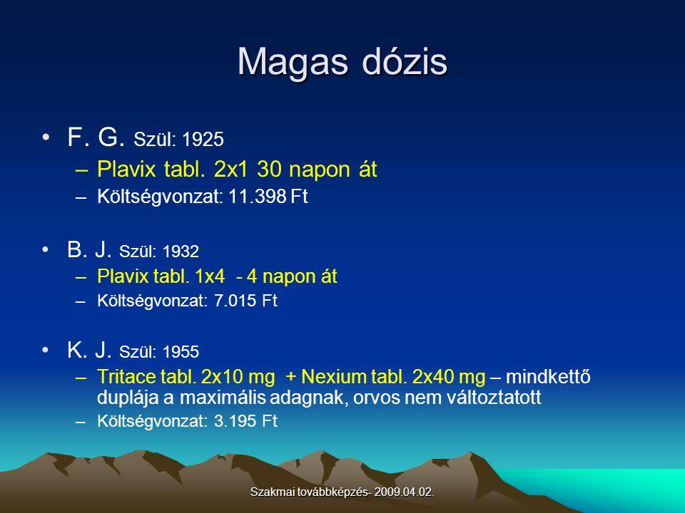 Szakmai továbbképzés- 2009.04.02. Magas dózis F. G. Szül: 1925 –Plavix tabl. 2x1 30 napon át –Költségvonzat: 11.398 Ft B. J. Szül: 1932 –Plavix tabl.