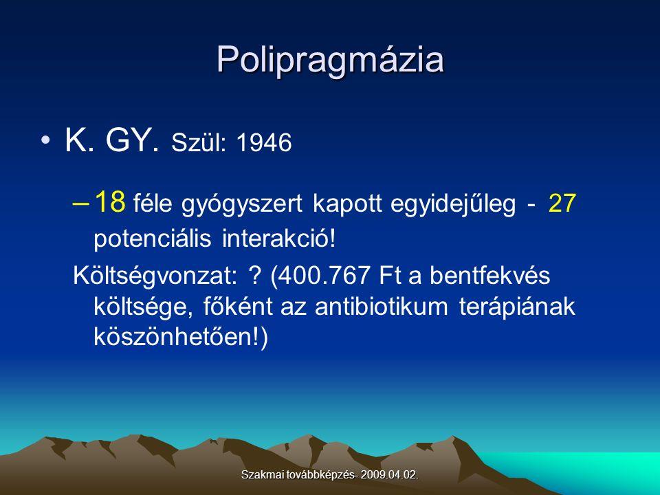 Szakmai továbbképzés- 2009.04.02. Polipragmázia K. GY. Szül: 1946 –18 féle gyógyszert kapott egyidejűleg - 27 potenciális interakció! Költségvonzat: ?