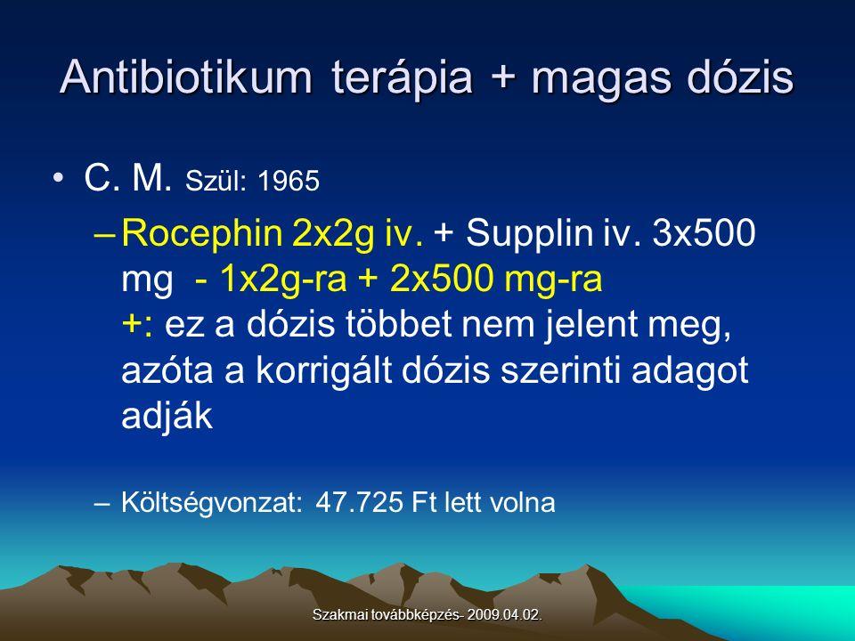 Szakmai továbbképzés- 2009.04.02. Antibiotikum terápia + magas dózis C. M. Szül: 1965 –Rocephin 2x2g iv. + Supplin iv. 3x500 mg - 1x2g-ra + 2x500 mg-r