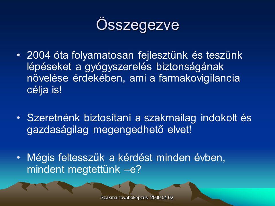 Szakmai továbbképzés- 2009.04.02. Összegezve 2004 óta folyamatosan fejlesztünk és teszünk lépéseket a gyógyszerelés biztonságának növelése érdekében,