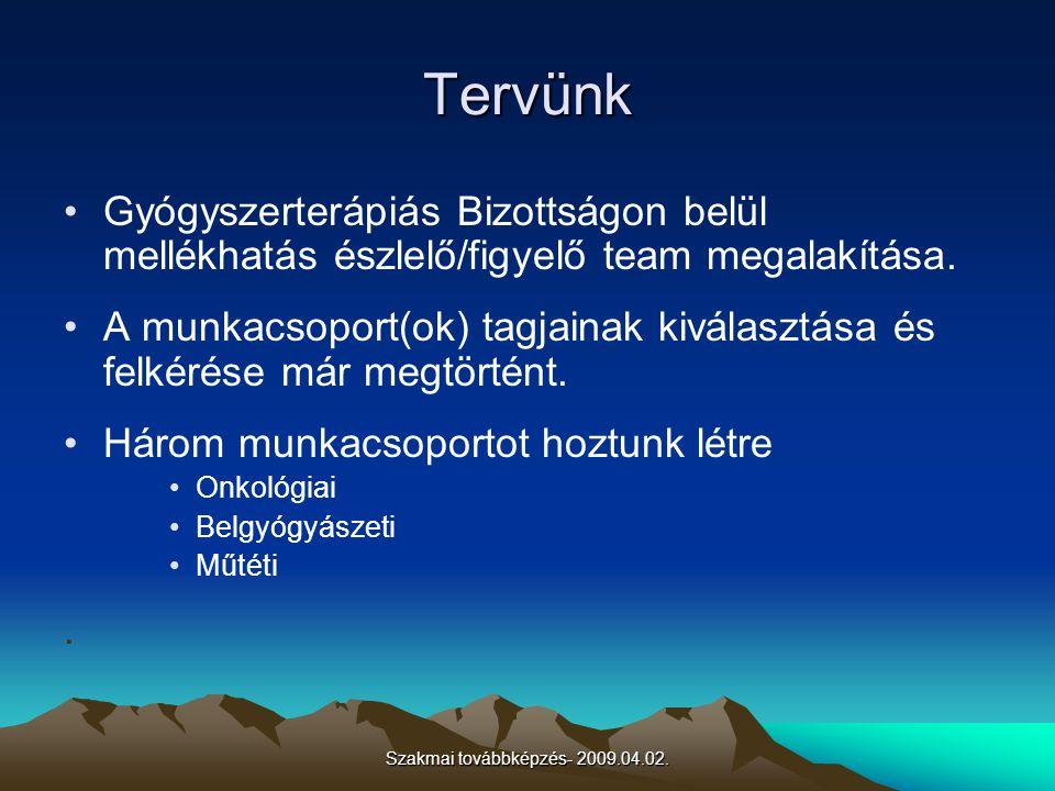 Szakmai továbbképzés- 2009.04.02. Tervünk Gyógyszerterápiás Bizottságon belül mellékhatás észlelő/figyelő team megalakítása. A munkacsoport(ok) tagjai