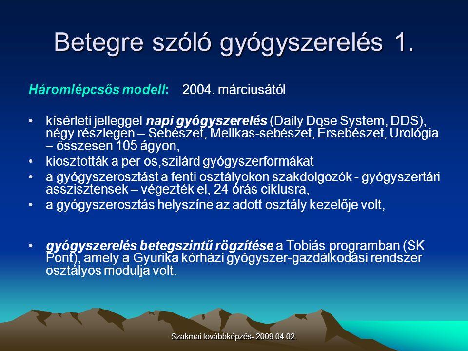 Szakmai továbbképzés- 2009.04.02. Betegre szóló gyógyszerelés 1. Háromlépcsős modell: 2004. márciusától kísérleti jelleggel napi gyógyszerelés (Daily