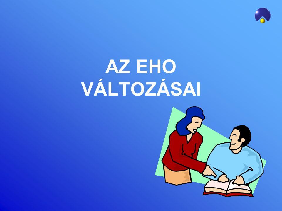 EHO MÉRTÉKEK VÁLTOZÁSA –Ingatlan bérbeadásából származó jövedelem (ha az összevont adóalap részeként adózik az SZJA-ban) –11 % helyett 14 % EHO kötelezettség –Osztalék: 14 %-os EHO kötelezettség (kifizetés időpontja!) –EHO felső határ: 450 ezer Ft/év