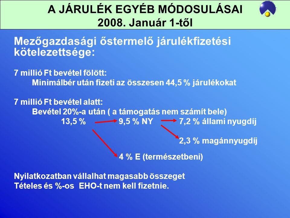 A JÁRULÉK EGYÉB MÓDOSULÁSAI 2008.