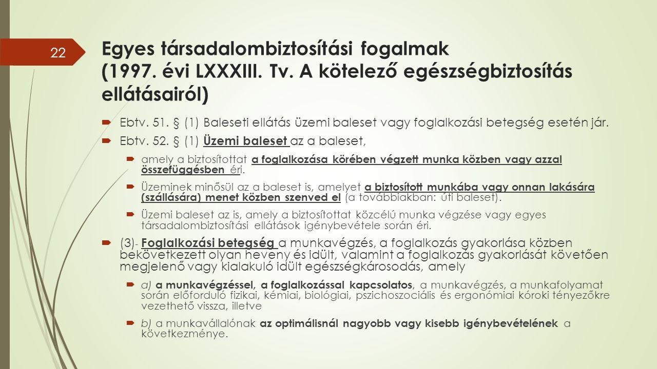 Egyes társadalombiztosítási fogalmak (1997. évi LXXXIII.